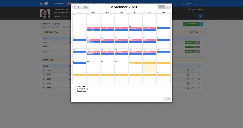 Vue calendrier